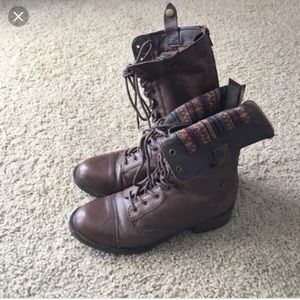 Steve Madden foldover brown combat boots tribal